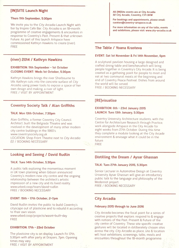 City Arcadia - [IN]site programme September - January