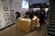 Guests arrive for a drink and analysis of the City Arcade environment by achitecture students