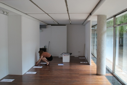 Laura installing for the Futureday exhibition